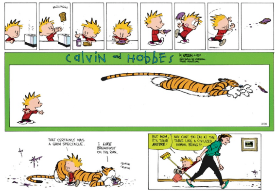 Calvin and hobbes food on the run