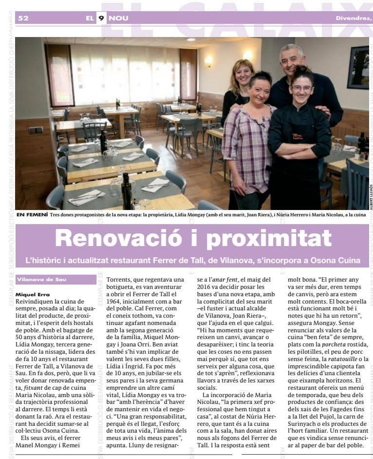 El Ferrer de Tall a El 9 nou: Renovació iproximitat