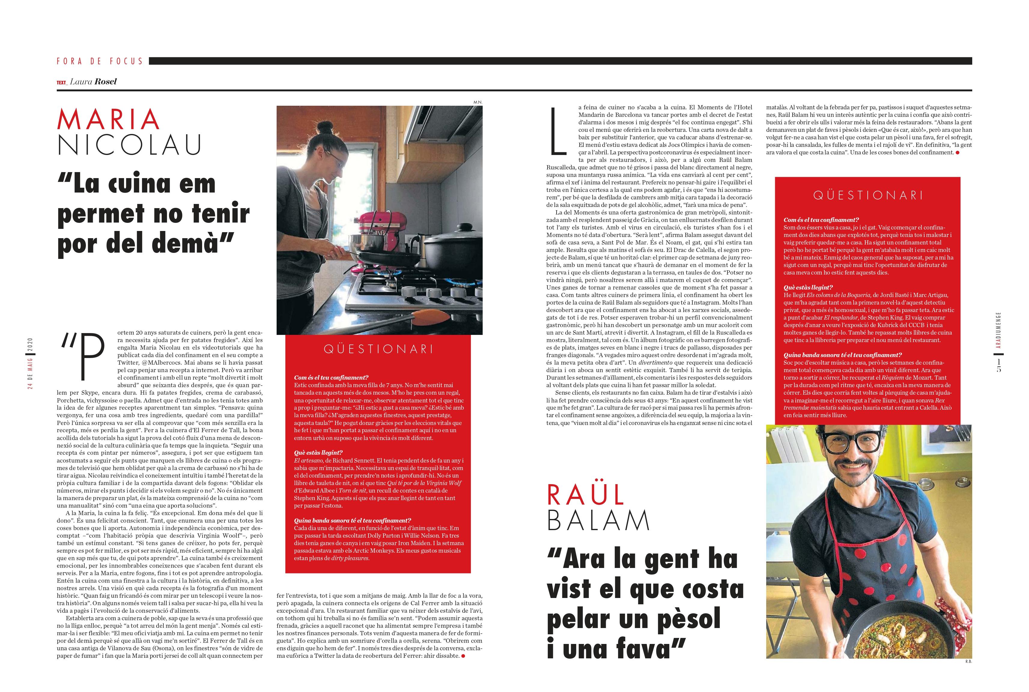 """Entrevista al Diari Ara: """"La cuina em permet no tenir por deldemà"""""""