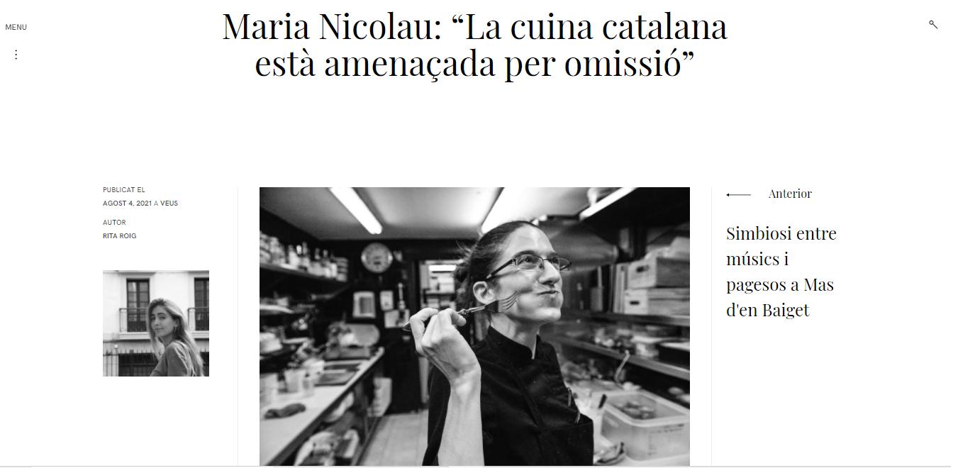 """Maria Nicolau: """"La cuina catalana està amenaçada peromissió"""""""